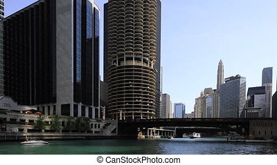 View of the Chicago Riverwalk on a fine day - A View of the...