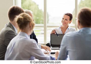 business people with laptop meeting in office