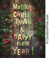 Christmas greeting card. Xmas wreath card with with...