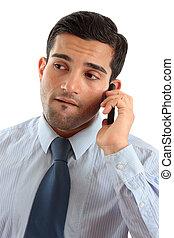 homem negócios, móvel, telefone, pensando