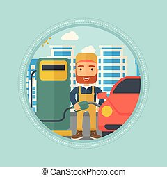 Worker filling up fuel into car. - Hipster worker with beard...