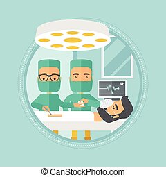 Two surgeons making operation vector illustration.