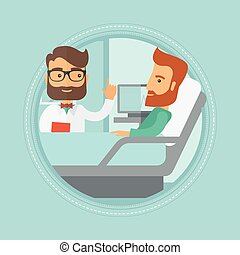 Doctor visiting patient vector illustration. - Hipster...