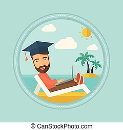 Graduate lying in chaise lounge with laptop. - Hipster...