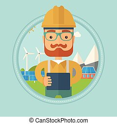 Male worker of solar power plant. - A hipster worker of...