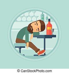 Drunk man sleeping in bar vector illustration. - Caucasian...