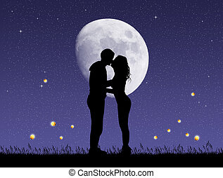 couple kissing with fireflies - illustration of couple...