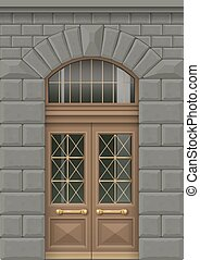 Facade with entrance door - Classic facade with wooden door...