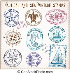 vector sea journey vintage stamps - collection of nine...
