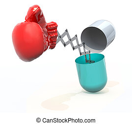 pill with a boxing glove emerging out isolated 3d...