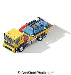Vehicle tow truck transporting on board a broken car isometric icon set