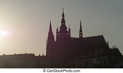 Time lapse shot of Cathedral of Saints Vitus, Wenceslaus and Adalbert, Prague, Czech Republic