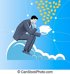 Fundraising business concept. Pensive businessman in...
