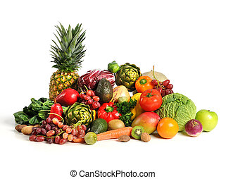 Fruits and Vegetables Over White Background - Assortment of...