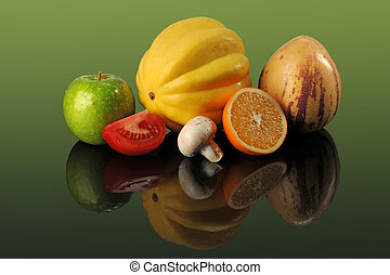 Fruits and Vegetables on Table - Fresh fruits and vegetables...