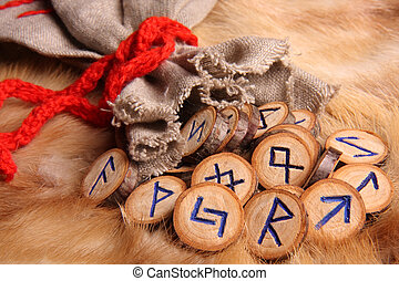 Runes close-up - runes with pouch close-up