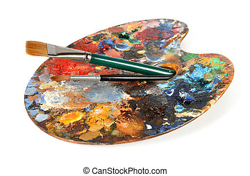 Artist Palette With paintbrushes