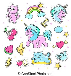Patch badges with hearts, unicorn, clouds, cats, Vector...