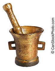 Old bronze mortar and pestle isolated on white background