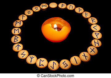 Runes around candle - Runes set around candle in classical...