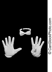 Invisible man figure is counts with fingers. White bow tie...