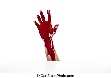 Bloody hand - One hand bleeding isolated on white background...