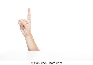Forefinger showing hand isolated on white background.