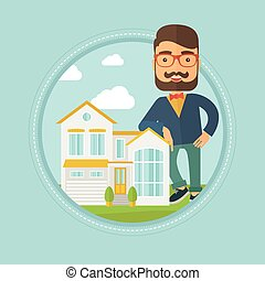 Real estate agent offering house. - Hipster real estate...