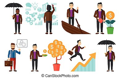 Vector set of illustrations with business people. - Set of...