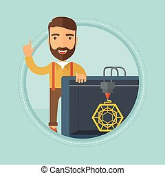 Man with three D printer vector illustration. - Caucasian...