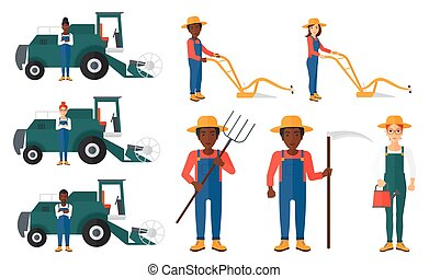 Set of agricultural illustrations with farmers. - Set of...