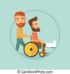 Man pushing wheelchair with patient.