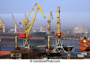 Harbour in mist - Black sea ship port in Odessa, Ukraine