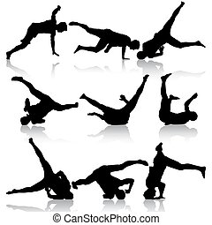 Silhouettes breakdancer on a white background. Vector...