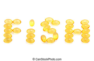 Fish oil capsules isolated on white