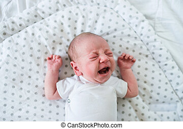 Newborn baby boy lying on bed, crying, close up - Cute...