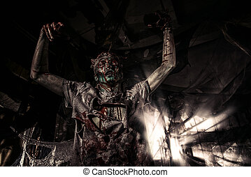 terrible bloody zombie - Terrible bloody zombie man with the...