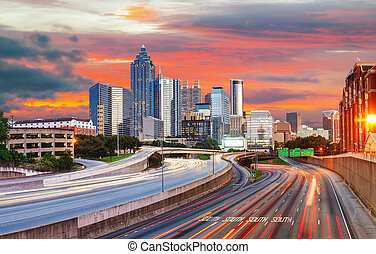 Downtown Atlanta, Georgia - Panoramic overview of downtown...
