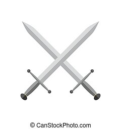 Sword icon. Vector illustration. - Two crossed swords in...
