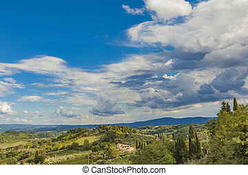 Chianti - View at Chianti from San Gimignano in Tuscany,...