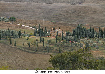 Montalcino, Italy - Panoramic view at Val d'Orcia from...