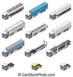 Trucks with different semi-trailers detailed isometric icons...
