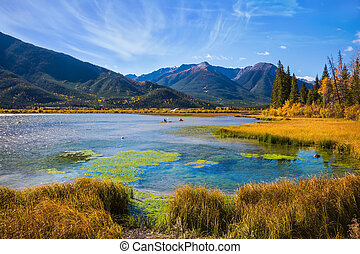 Beautiful Lake Vermilion in Banff National Park. The...