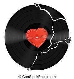 Broken Heart Vinyl Record - Broken vinyl record with...