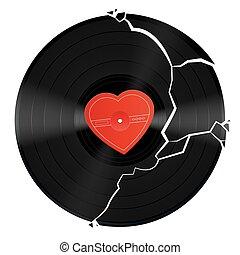 Broken Heart Vinyl Record - Broken vinyl record with...