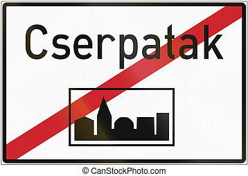 fin, Húngaro, área, -, urbanizado, señal, regulatory, camino...
