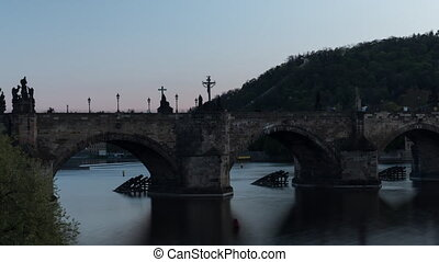 Time lapse shot of the Charles Bridge, Prague, Czech...