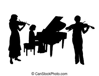 Concerto for two violins and piano - Women are playing two...