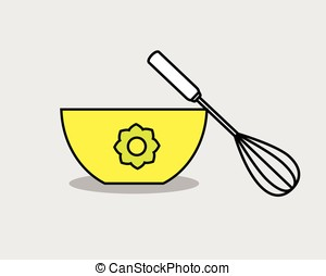 Eggbeater with Bowl Vector Illustration