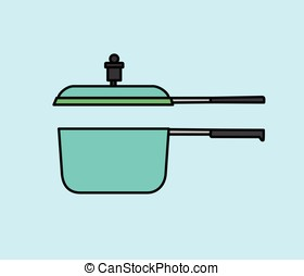 Open Pressure Cooker Vector Illustration